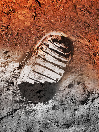 graphic of astronaut bootprint on moon and mars