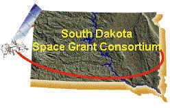 SD Space Grant Consortium Logo - State of SD with a satellite orbiting it.
